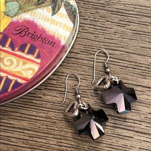 Brighton Karma Cross Crystal Earrings with Hearts